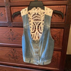 Free People Denim Lace Vest Small